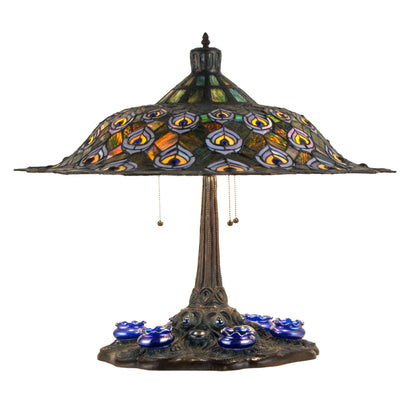 "Meyda Lighting 49869 26.5"" High Tiffany Peacock Feather Table Lamp"