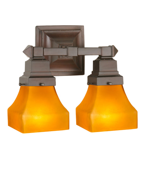 "Meyda Lighting 50361 13""W Bungalow Frosted Amber 2 LT Wall Sconce"