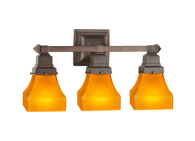 "Meyda Lighting 50362 20""W Bungalow Frosted Amber 3 LT Vanity Light"