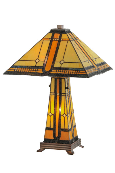 "Meyda Lighting 50805 25""H Sierra Prairie Mission Lighted Base Table Lamp"