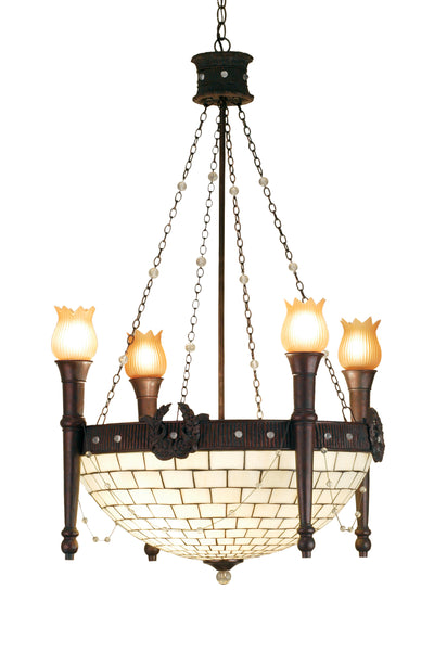 "Meyda Lighting 52060 30""W TORCH & WREATH 4 ARM CHANDELIER W INVERT.604"