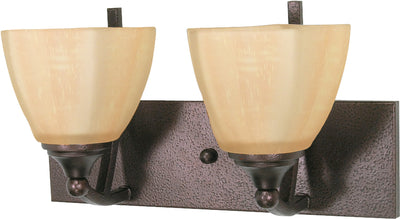 Nuvo Lighting 60/060 NORMANDY 2 light VANITY FIXTURE COPPER BRNZE/CHAMPAGNE GLASS