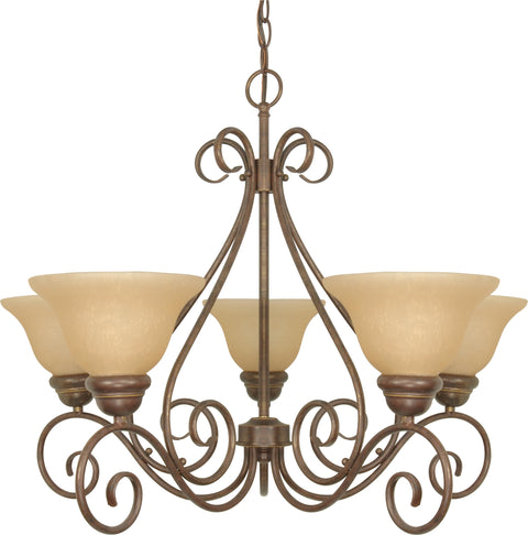 Nuvo Lighting 60/1023 Castillo 5 Light 28 Inch Chandelier with Champagne Linen Washed Glass