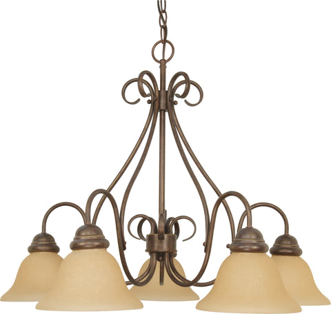 Nuvo Lighting 60/1024 Castillo 5 Light 28 Inch Chandelier with Champagne Linen Washed Glass