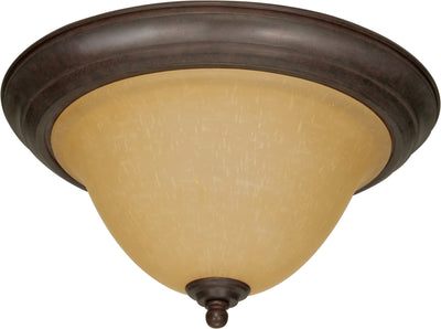 Nuvo Lighting 60/1026 Castillo 2 Light 15 1/4 Inch Flush Mount with Champagne Linen Washed Glass