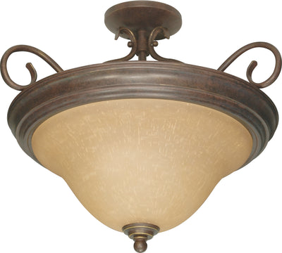Nuvo Lighting 60/1027 Castillo 3 Light 19 Inch Semi Flush with Champagne Linen Washed Glass