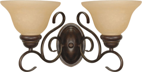 Nuvo Lighting 60/1031 Castillo 2 Light 17 1/4 Inch Wall Mount Sconce Fixture with Champagne Linen Washed Glass