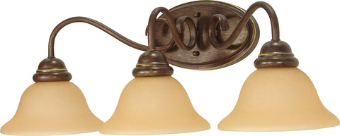 Nuvo Lighting 60/1035 Castillo 3 Light 25 1/2 Inch Wall Mount Sconce Fixture with Champagne Linen Washed Glass