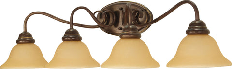 Nuvo Lighting 60/1036 Castillo 4 Light 33 1/2 Inch Wall Mount Sconce Fixture with Champagne Linen Washed Glass