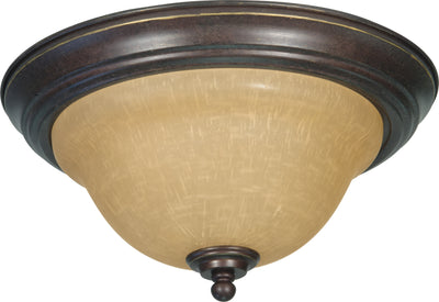 Nuvo Lighting 60/1038 Castillo 2 Light 13 1/4 Inch Flush Mount with Champagne Linen Washed Glass