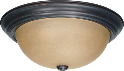 Nuvo Lighting 60/1257 3 Light 15 Inch Flush Mount with Champagne Linen Washed Glass