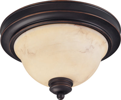 Nuvo Lighting 60/1405 ANASTASIA 2light 11 Inch FLUSH FIXTRE COPPER ESPRESO/HONEY MARBLE GL