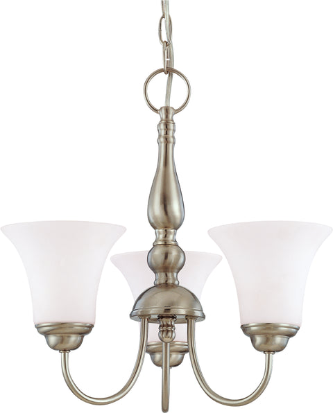 Nuvo Lighting 60/1821 Dupont 3 Light 16 Inch Chandelier with Satin White Glass