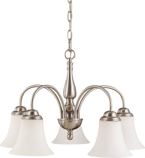 Nuvo Lighting 60/1822 Dupont 5 Light 21 Inch Chandelier with Satin White Glass