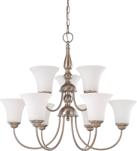 Nuvo Lighting 60/1823 Dupont 9 Light 2 Tier 27 Inch Chandelier with Satin White Glass