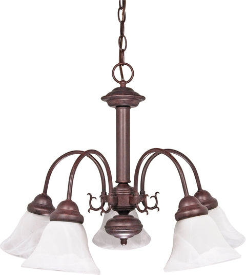 Nuvo Lighting 60/183 Ballerina 5 Light 24 Inch Chandelier with Alabaster Glass Bell Shades