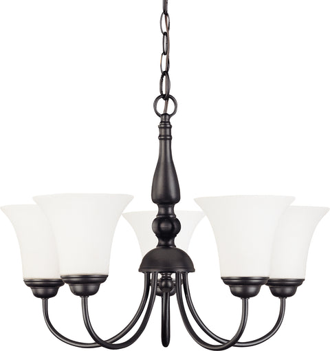 Nuvo Lighting 60/1842 Dupont 5 Light 21 Inch Chandelier with Satin White Glass