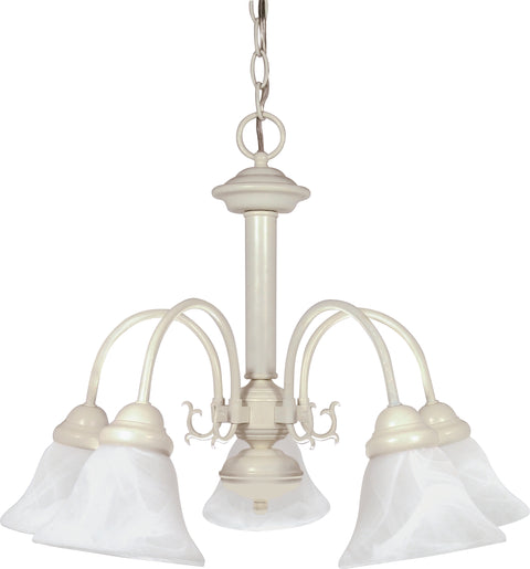 Nuvo Lighting 60/187 Ballerina 5 Light 24 Inch Chandelier with Alabaster Glass Bell Shades
