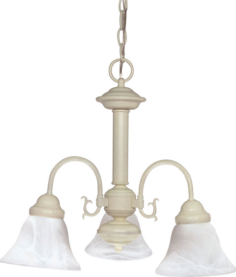 Nuvo Lighting 60/188 Ballerina 3 Light 20 Inch Chandelier with Alabaster Glass Bell Shades