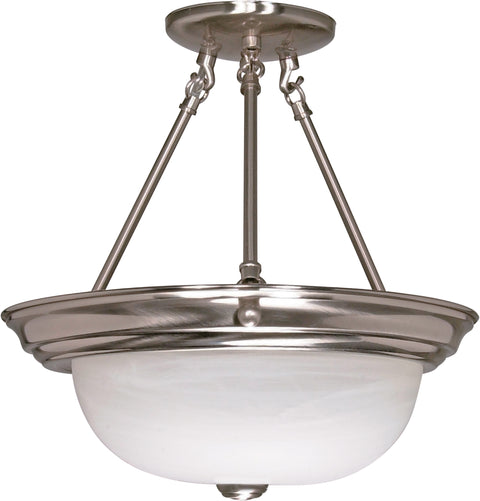 Nuvo Lighting 60/202 3 Light 15 Inch Semi Flush Alabaster Glass