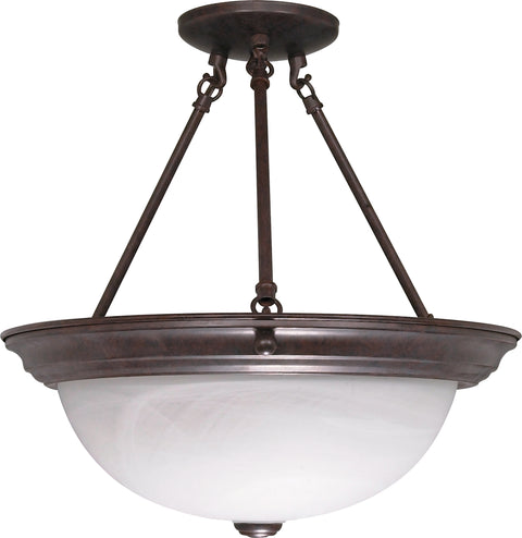 Nuvo Lighting 60/210 3 Light 15 Inch Semi Flush Alabaster Glass