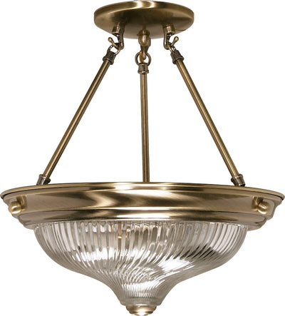 Nuvo Lighting 60/233 2 light 13 Inch SEMI FLUSH  ANTQ BRASS/CLEAR SWIRL GLASS