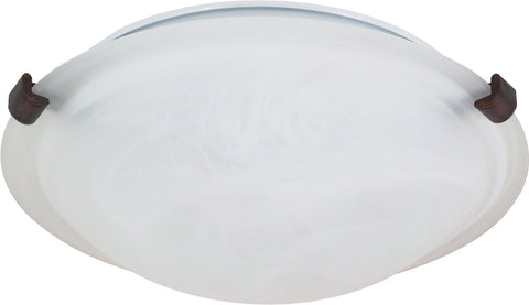 Nuvo Lighting 60/273 2 Light 16 Inch Flush Mount Tri Clip with Alabaster Glass