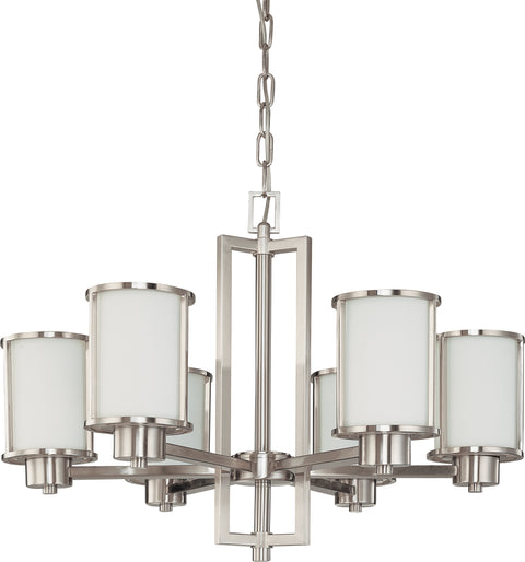 Nuvo Lighting 60/2853 Odeon 6 Light (convertible up/down) Chandelier with Satin White Glass
