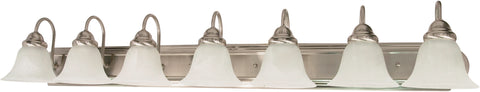 Nuvo Lighting 60/291 Ballerina 7 Light 48 Inch Vanity with Alabaster Glass Bell Shades