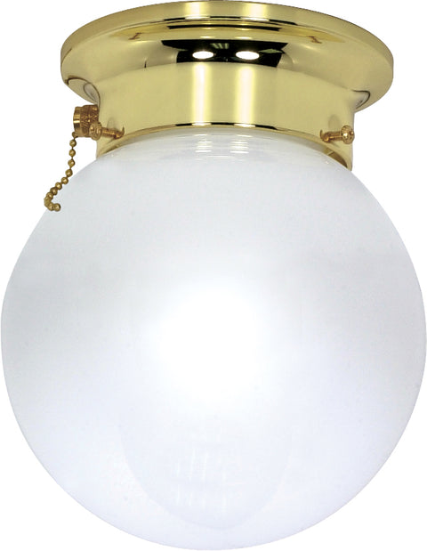 Nuvo Lighting 60/295 1 Light 6 Inch Ceiling Mount White Ball with Pull Chain Switch