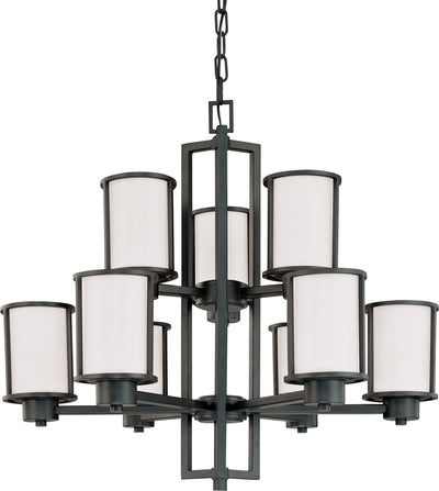 Nuvo Lighting 60/2979 Odeon 6 + 3 Light Chandelier with Satin White Glass