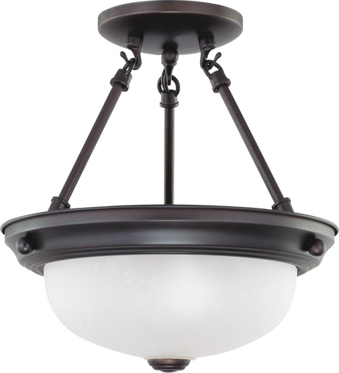Nuvo Lighting 60/3148 2 Light 11 Inch Semi Flush with Frosted White Glass
