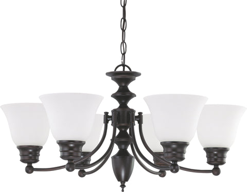 Nuvo Lighting 60/3169 Empire 6 Light 26 Inch Chandelier with Frosted White Glass