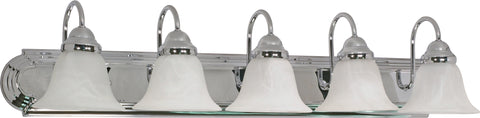 Nuvo Lighting 60/319 Ballerina 5 Light 36 Inch Vanity with Alabaster Glass Bell Shades