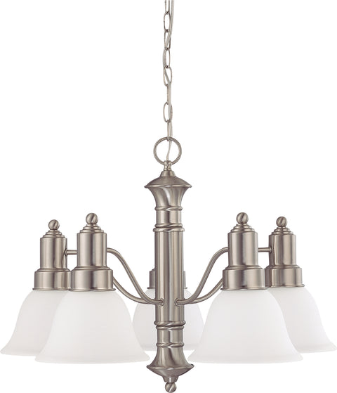 Nuvo Lighting 60/3242 Gotham 5 Light 25 Inch Chandelier with Frosted White Glass