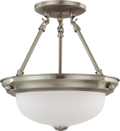 Nuvo Lighting 60/3244 2 Light 11 Inch Semi Flush with Frosted White Glass