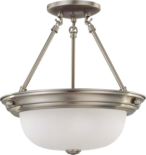 Nuvo Lighting 60/3245 2 Light 13 Inch Semi Flush with Frosted White Glass