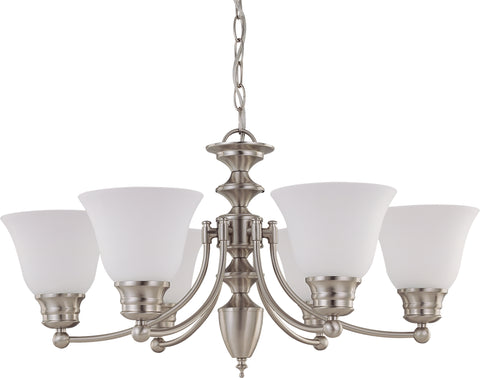 Nuvo Lighting 60/3255 Empire 6 Light 26 Inch Chandelier with Frosted White Glass