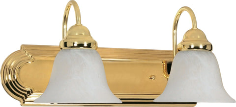 Nuvo Lighting 60/328 Ballerina 2 Light 18 Inch Vanity with Alabaster Glass Bell Shades