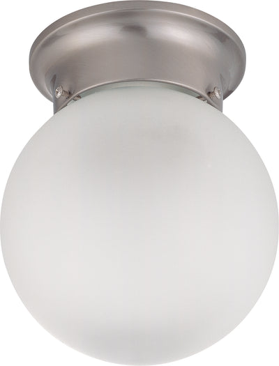 Nuvo Lighting 60/3299 1 LIGHT ES 6 Inch BALL CEILING BRUSHED NICKEL/FROSTED GLASS
