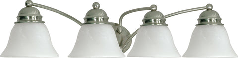 Nuvo Lighting 60/343 Empire 4 Light 29 Inch Vanity with Alabaster Glass Bell Shades