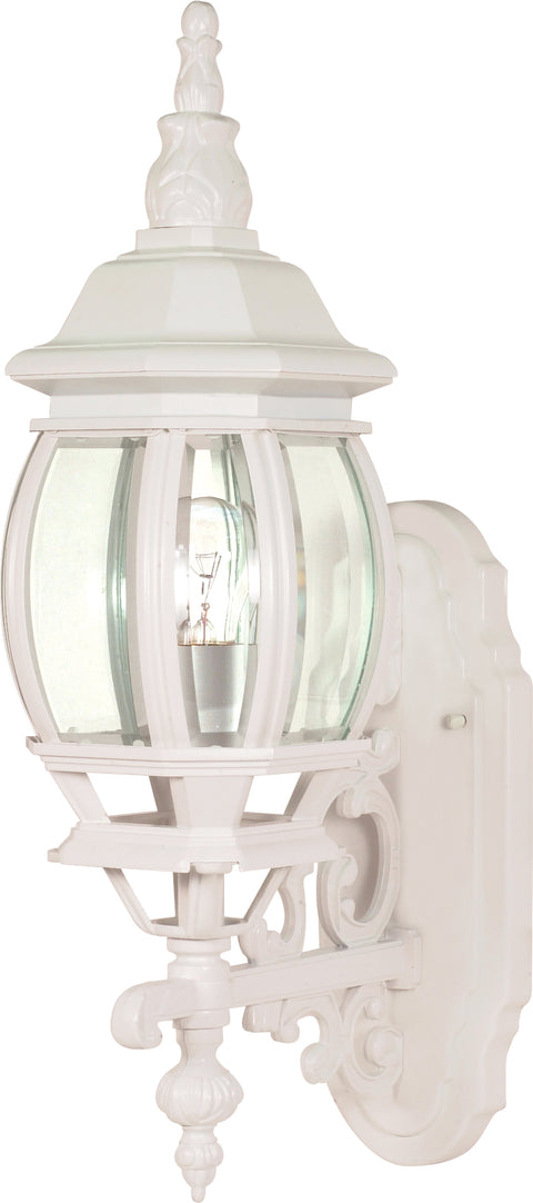 Nuvo Lighting 60/3467 Central Park 1 Light 20 Inch Wall Mount Sconce Lantern with Clear Beveled Glass Color retail packaging