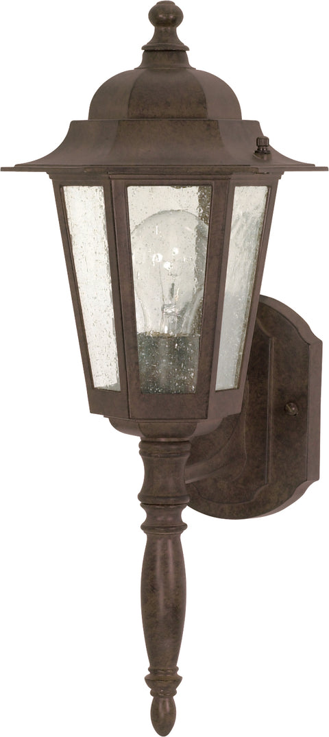 Nuvo Lighting 60/3471 Cornerstone 1 Light 18 Inch Wall Mount Sconce Lantern with Clear Seed Glass Color retail packaging