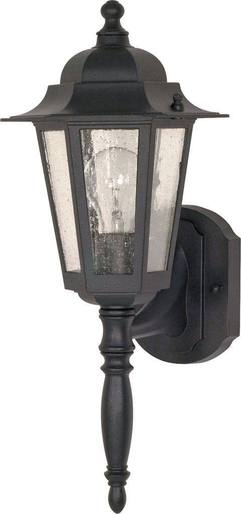 Nuvo Lighting 60/3472 Cornerstone 1 Light 18 Inch Wall Mount Sconce Lantern with Clear Seed Glass Color retail packaging