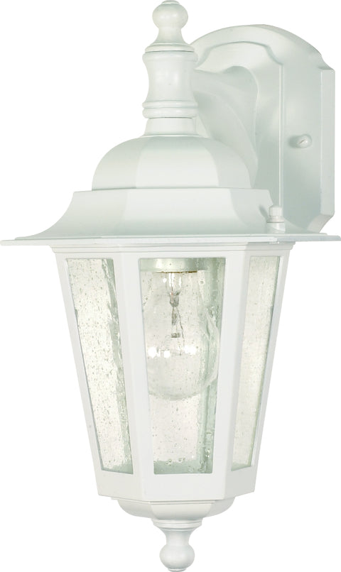 Nuvo Lighting 60/3473 Cornerstone 1 Light 13 Inch Wall Mount Sconce Lantern Arm Down with Clear Seed Glass Color retail packaging
