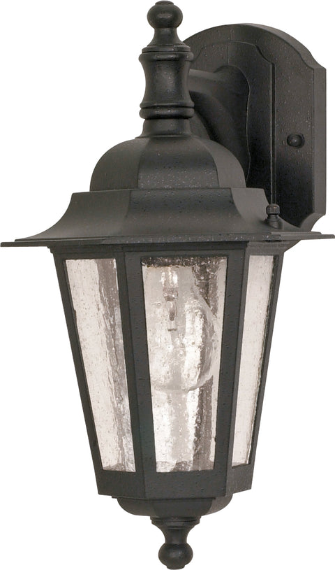 Nuvo Lighting 60/3475 Cornerstone 1 Light 13 Inch Wall Mount Sconce Lantern Arm Down with Clear Seed Glass Color retail packaging