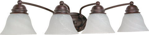 Nuvo Lighting 60/347 Empire 4 Light 29 Inch Vanity with Alabaster Glass Bell Shades
