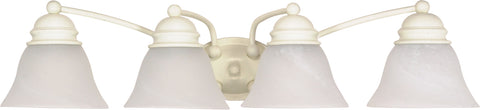 Nuvo Lighting 60/355 Empire 4 Light 29 Inch Vanity with Alabaster Glass Bell Shades