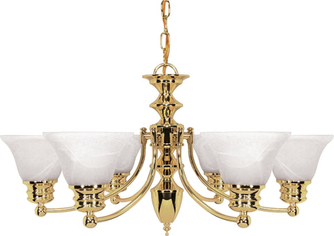 Nuvo Lighting 60/357 Empire 6 Light 26 Inch Chandelier with Alabaster Glass Bell Shades