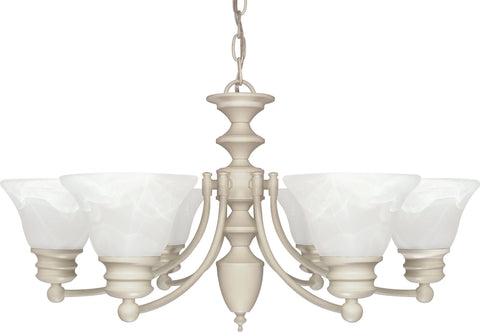 Nuvo Lighting 60/359 Empire 6 Light 26 Inch Chandelier with Alabaster Glass Bell Shades